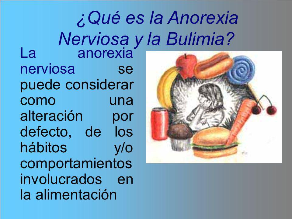 La anorexia nerviosa se puede considerar como una alteración por defecto, de los hábitos y/o comportamientos involucrados en la alimentación ¿Qué es l