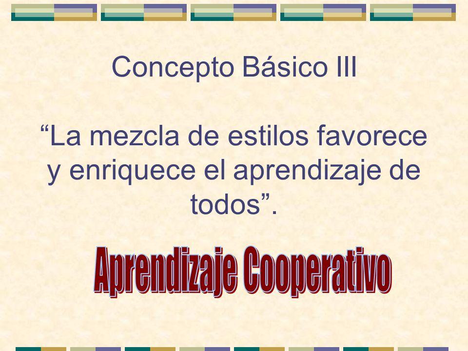 Concepto Básico III La mezcla de estilos favorece y enriquece el aprendizaje de todos.