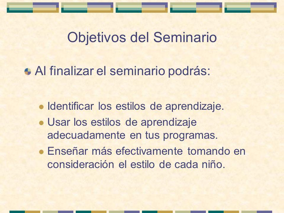 Objetivos del Seminario Al finalizar el seminario podrás: Identificar los estilos de aprendizaje. Usar los estilos de aprendizaje adecuadamente en tus