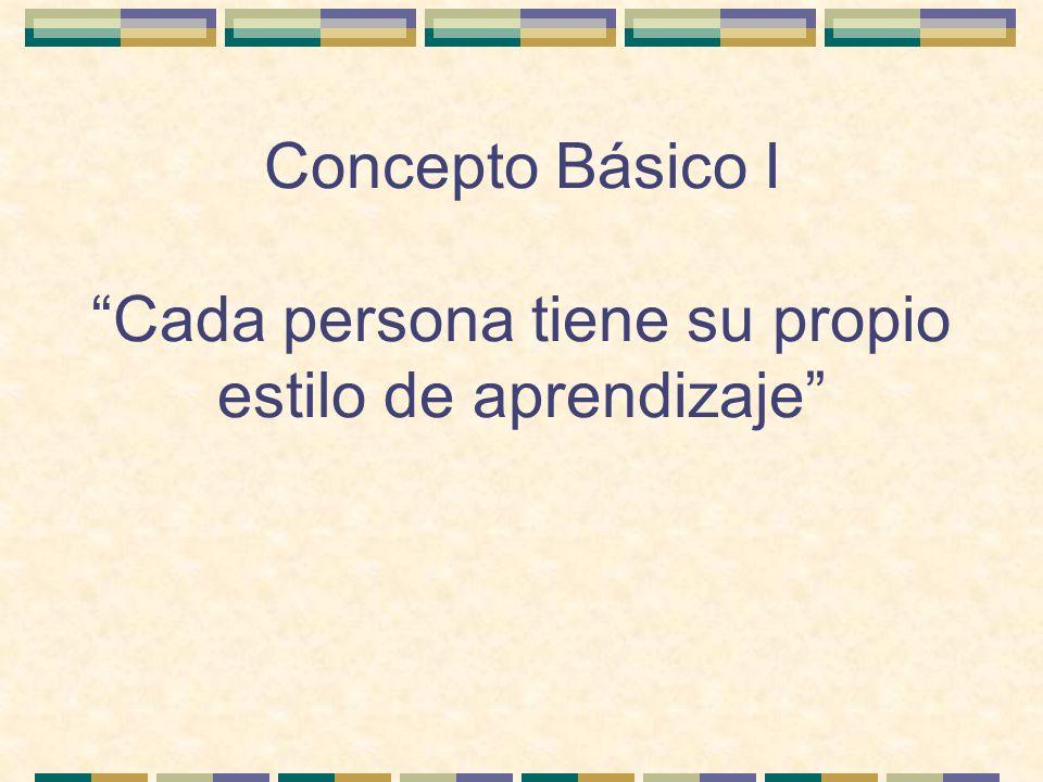 Concepto Básico I Cada persona tiene su propio estilo de aprendizaje