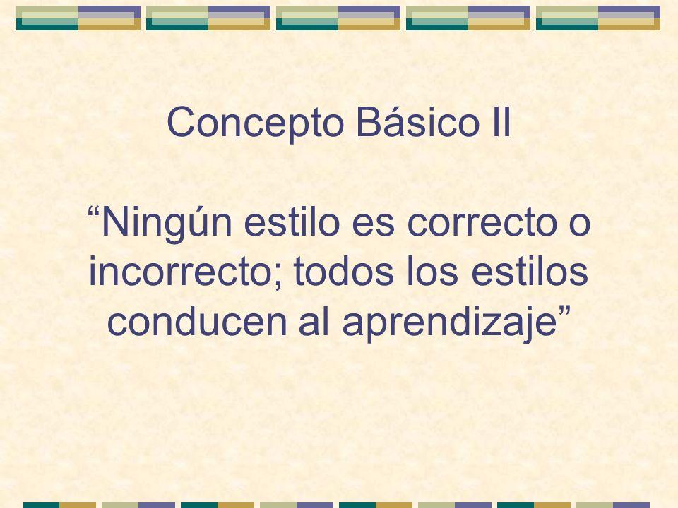 Concepto Básico II Ningún estilo es correcto o incorrecto; todos los estilos conducen al aprendizaje
