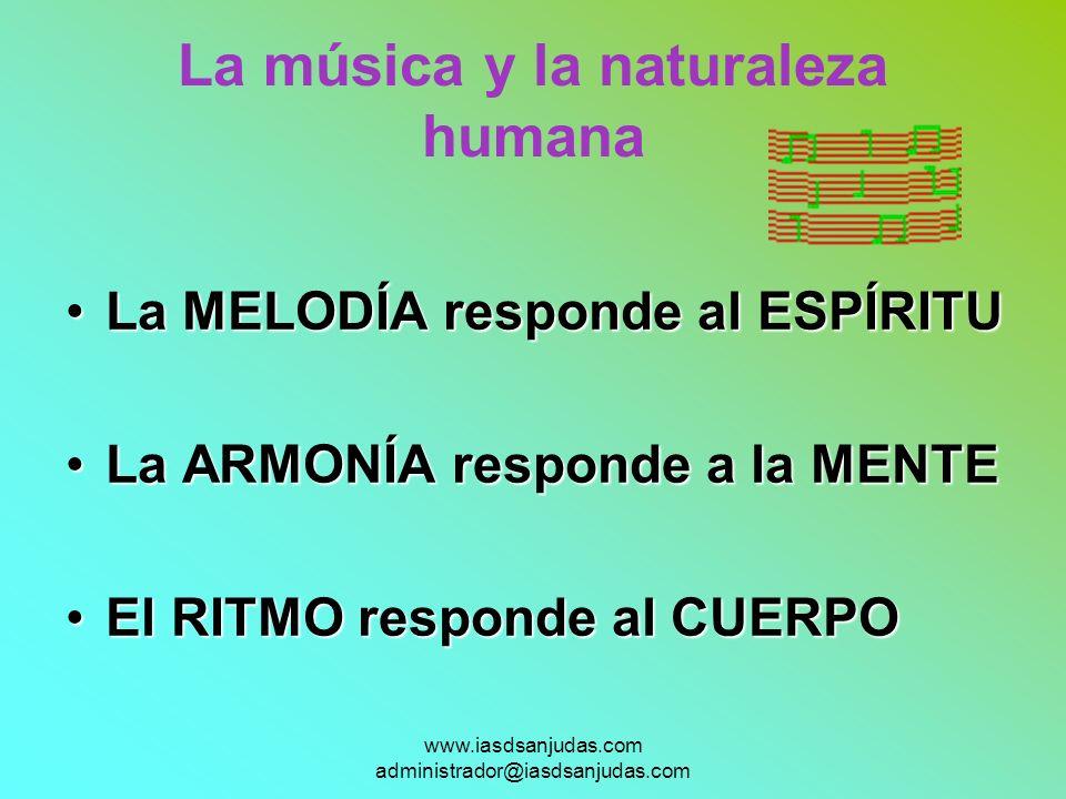 www.iasdsanjudas.com administrador@iasdsanjudas.com La música y la naturaleza humana La MELODÍA responde al ESPÍRITULa MELODÍA responde al ESPÍRITU La