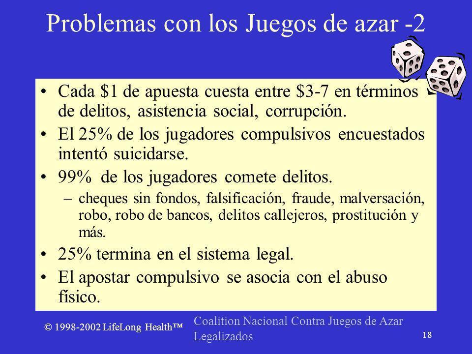 © 1998-2002 LifeLong Health 18 Cada $1 de apuesta cuesta entre $3-7 en términos de delitos, asistencia social, corrupción.