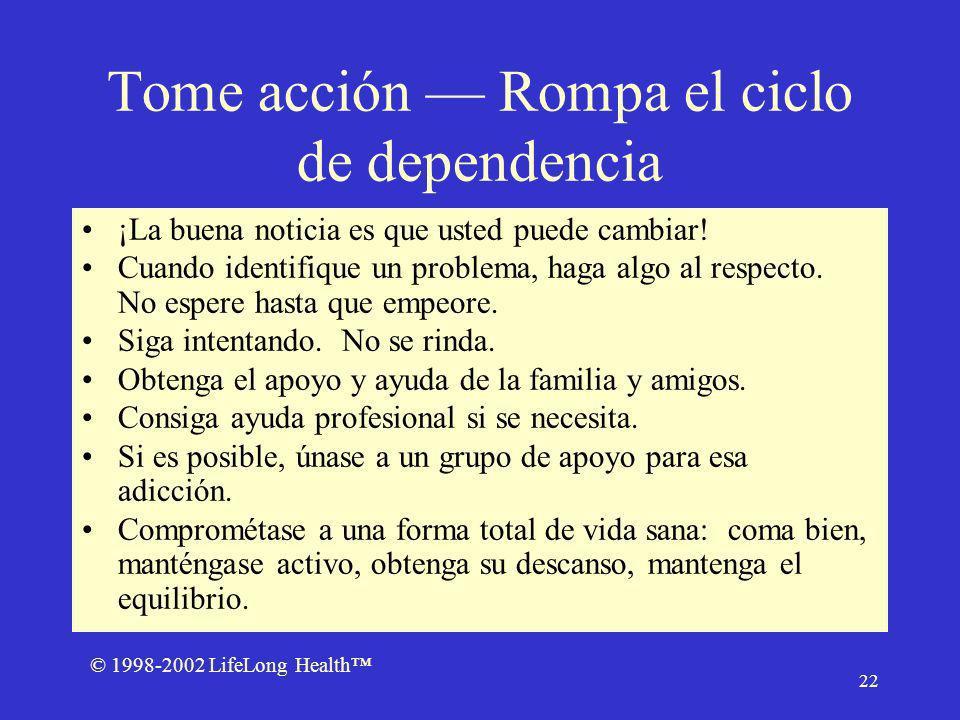 © 1998-2002 LifeLong Health 22 Tome acción Rompa el ciclo de dependencia ¡La buena noticia es que usted puede cambiar.