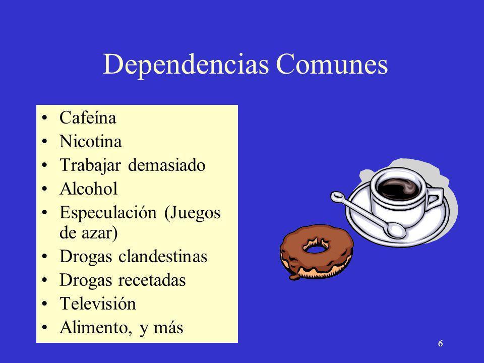 © 1998-2002 LifeLong Health 6 Dependencias Comunes Cafeína Nicotina Trabajar demasiado Alcohol Especulación (Juegos de azar) Drogas clandestinas Drogas recetadas Televisión Alimento, y más