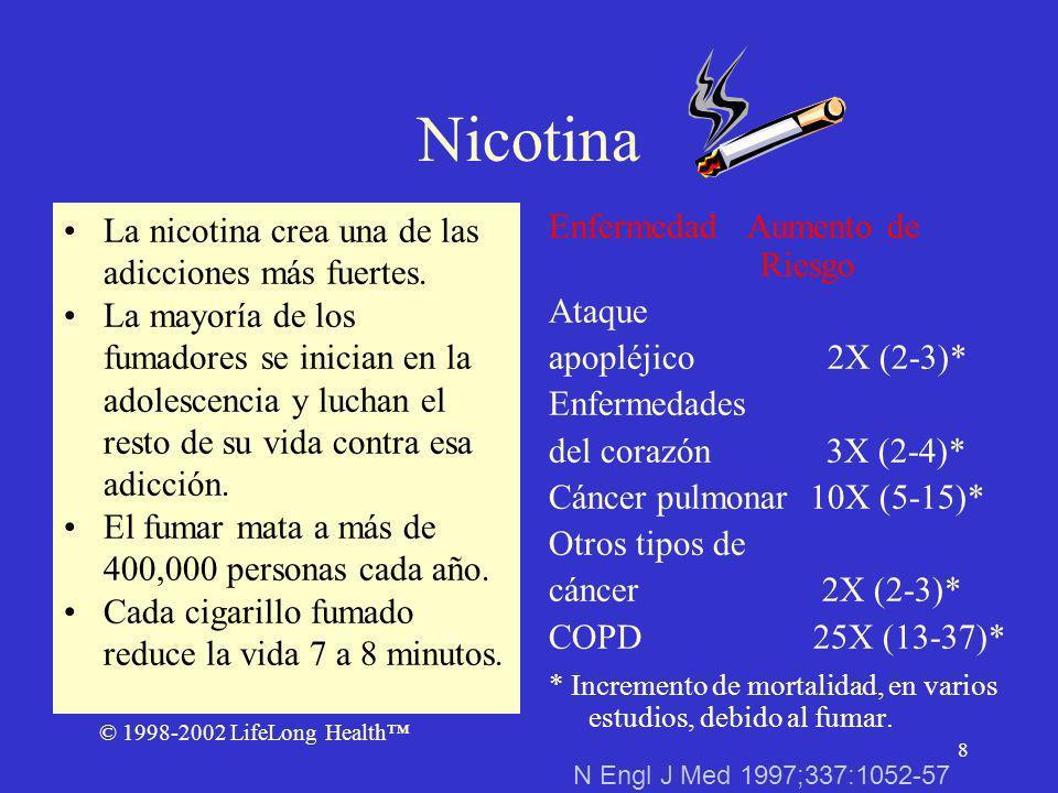 © 1998-2002 LifeLong Health 8 Nicotina La nicotina crea una de las adicciones más fuertes.