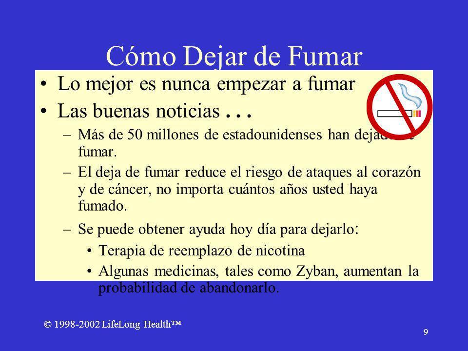 © 1998-2002 LifeLong Health 9 Cómo Dejar de Fumar Lo mejor es nunca empezar a fumar Las buenas noticias...