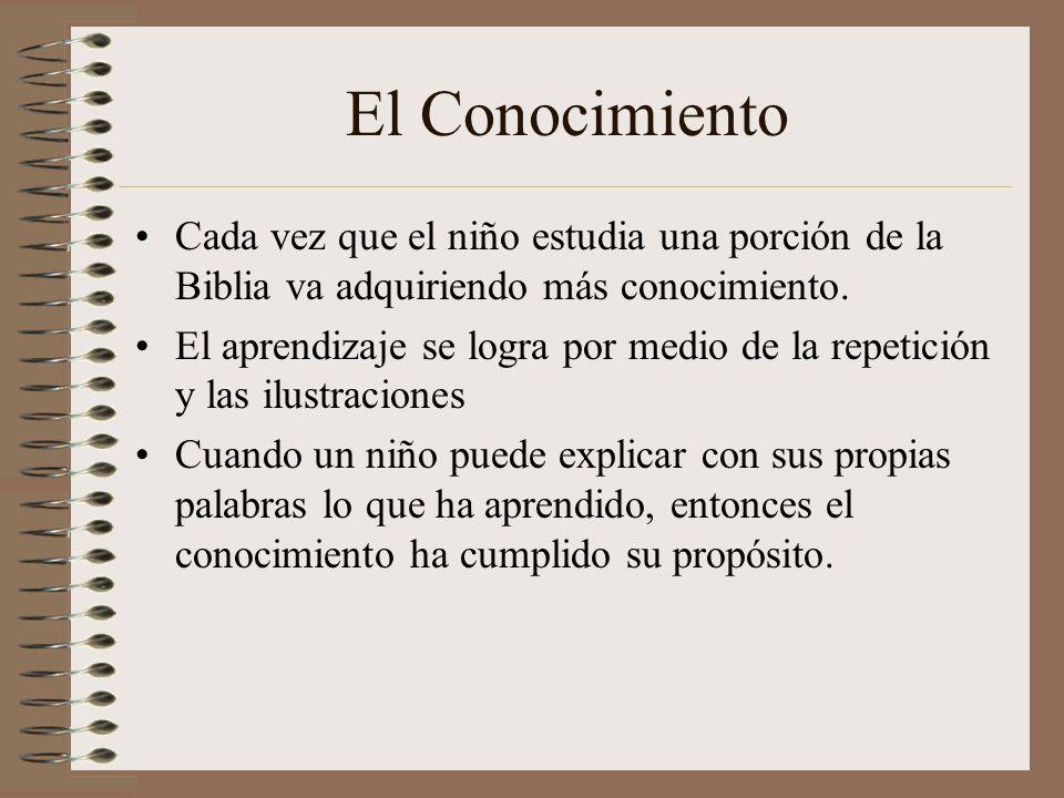 El Conocimiento Cada vez que el niño estudia una porción de la Biblia va adquiriendo más conocimiento. El aprendizaje se logra por medio de la repetic