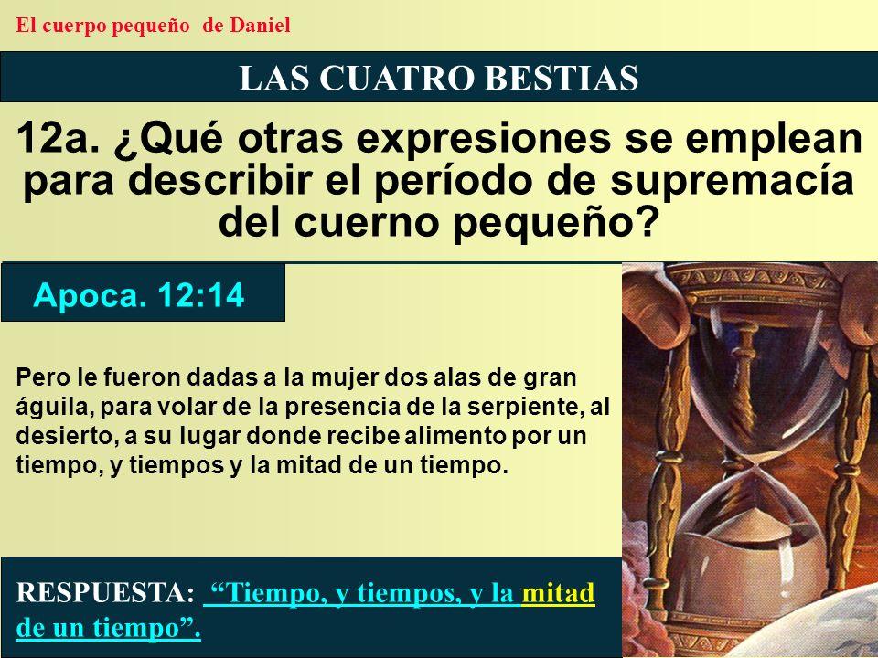 LAS CUATRO BESTIAS 12a. ¿Qué otras expresiones se emplean para describir el período de supremacía del cuerno pequeño? RESPUESTA: Tiempo, y tiempos, y