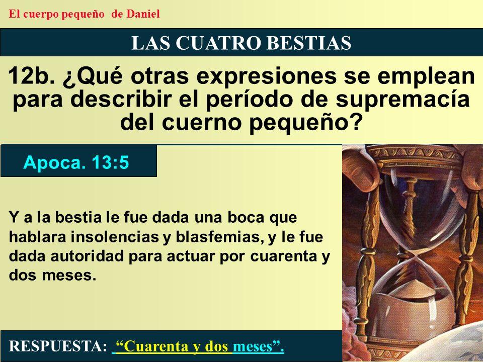LAS CUATRO BESTIAS 12b. ¿Qué otras expresiones se emplean para describir el período de supremacía del cuerno pequeño? RESPUESTA: Cuarenta y dos meses.