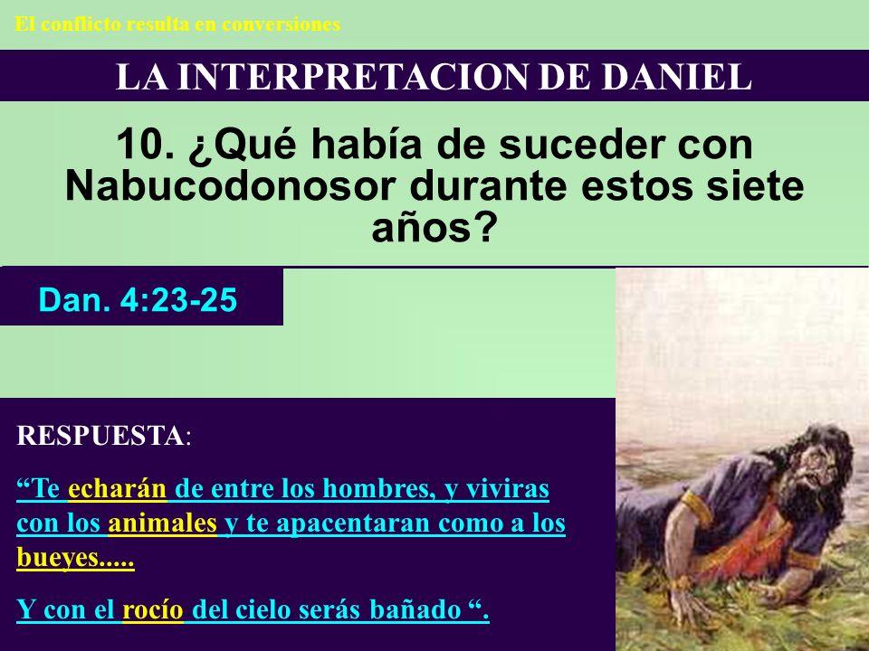 LA INTERPRETACION DE DANIEL 10. ¿Qué había de suceder con Nabucodonosor durante estos siete años? RESPUESTA: Te echarán de entre los hombres, y vivira