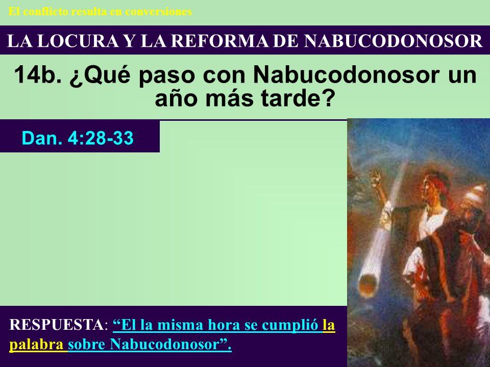 LA LOCURA Y LA REFORMA DE NABUCODONOSOR 14b. ¿Qué paso con Nabucodonosor un año más tarde? RESPUESTA: El la misma hora se cumplió la palabra sobre Nab
