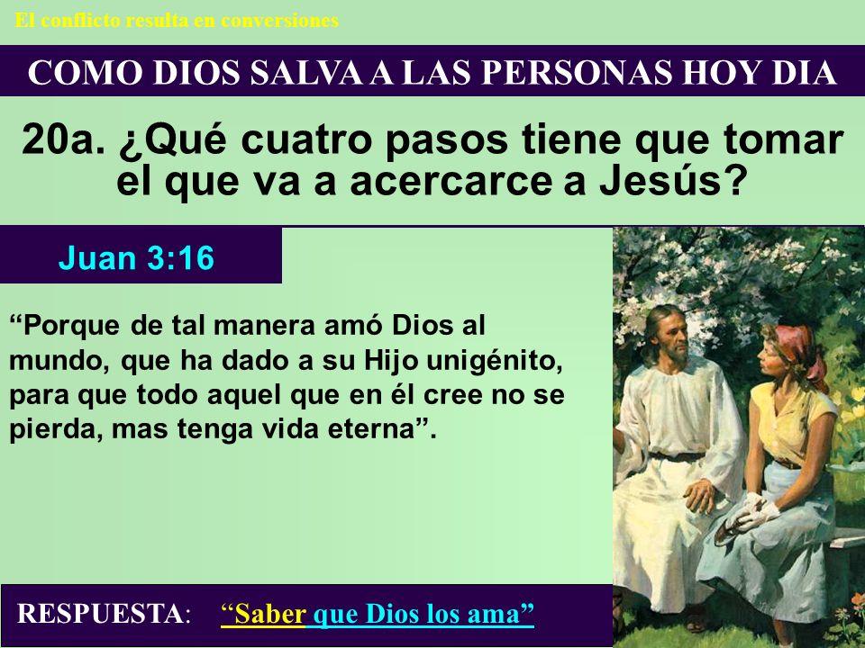 COMO DIOS SALVA A LAS PERSONAS HOY DIA 20a. ¿Qué cuatro pasos tiene que tomar el que va a acercarce a Jesús? El conflicto resulta en conversiones Porq