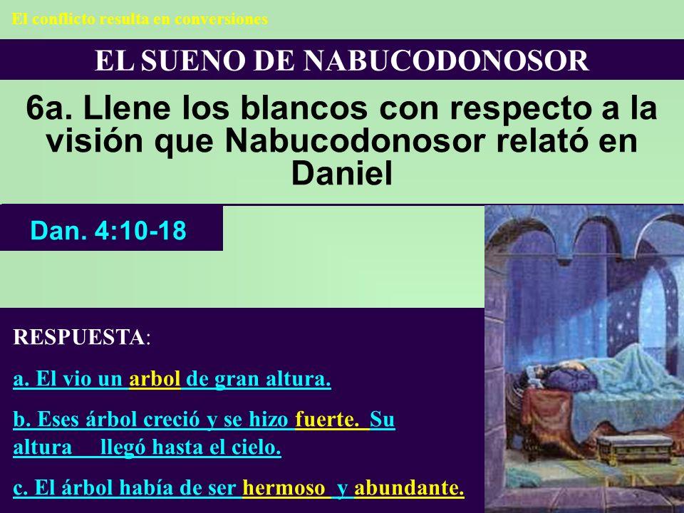 EL SUENO DE NABUCODONOSOR 6a. Llene los blancos con respecto a la visión que Nabucodonosor relató en Daniel RESPUESTA: a. El vio un arbol de gran altu
