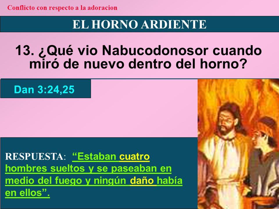 EL HORNO ARDIENTE 14.¿A cuántos hombres vio Nabucodonosor en el horno de fuego.