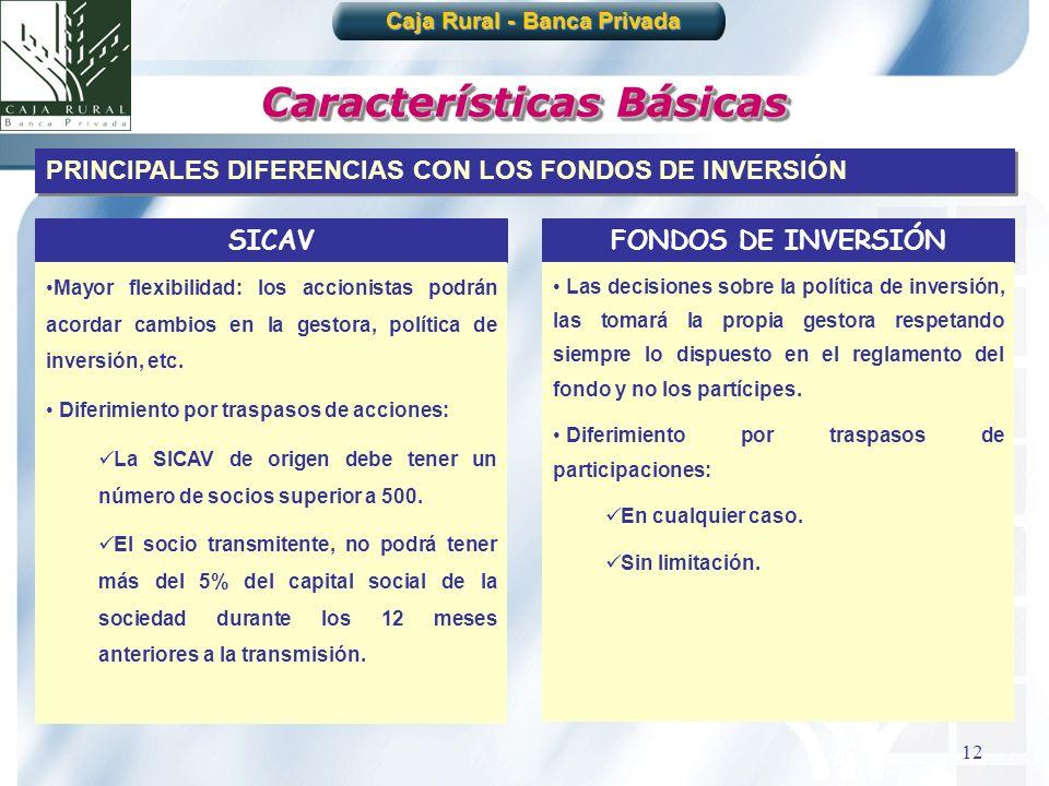 12 Características Básicas Caja Rural - Banca Privada PRINCIPALES DIFERENCIAS CON LOS FONDOS DE INVERSIÓN SICAV Mayor flexibilidad: los accionistas po