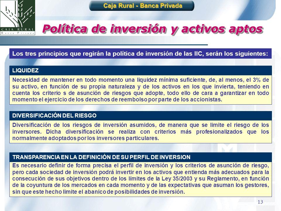13 Política de inversión y activos aptos Los tres principios que regirán la política de inversión de las IIC, serán los siguientes: Diversificación de