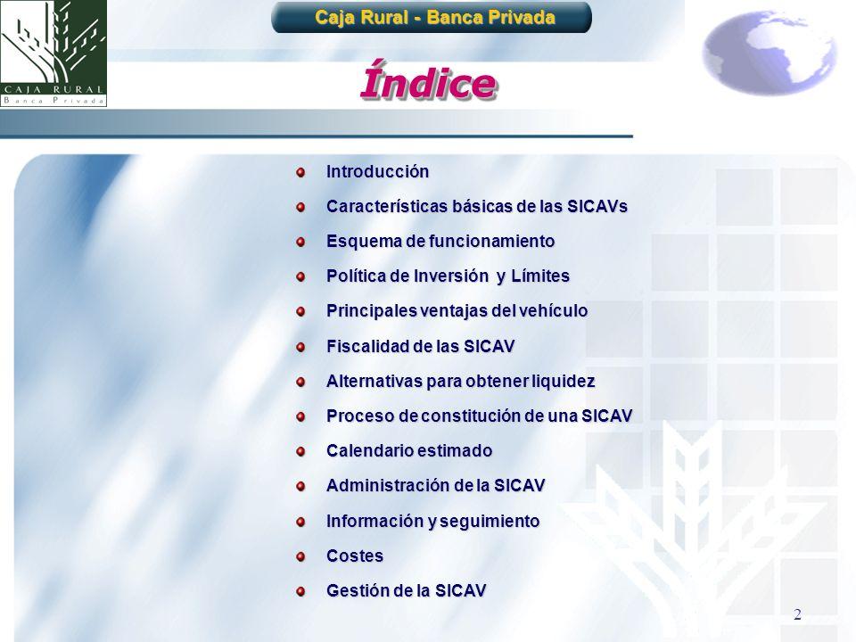 2 ÍndiceÍndice Introducción Características básicas de las SICAVs Esquema de funcionamiento Política de Inversión y Límites Principales ventajas del v
