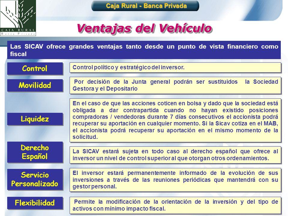 22 Ventajas del Vehículo Las SICAV ofrece grandes ventajas tanto desde un punto de vista financiero como fiscal Control político y estratégico del inv