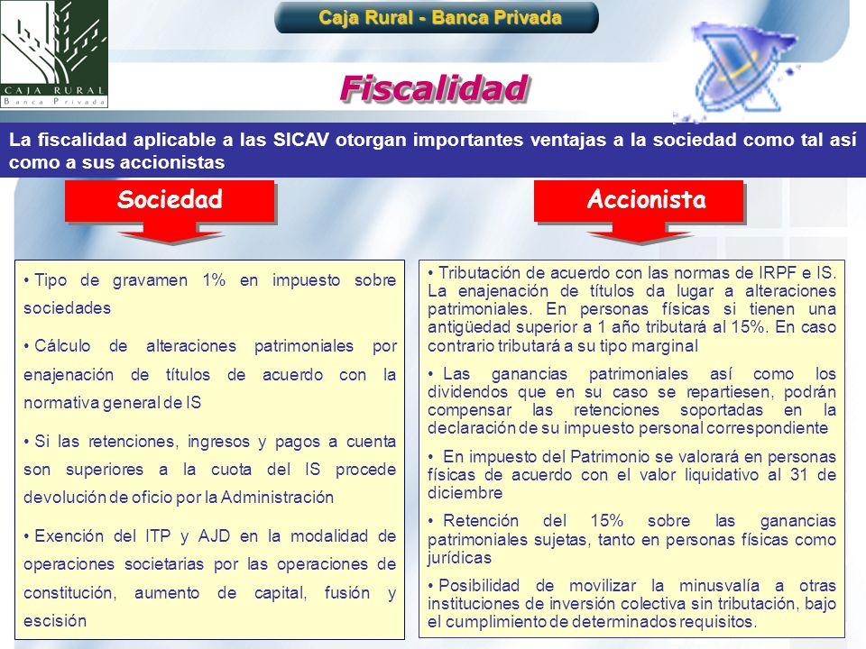 25 FiscalidadFiscalidad La fiscalidad aplicable a las SICAV otorgan importantes ventajas a la sociedad como tal así como a sus accionistas Tipo de gra