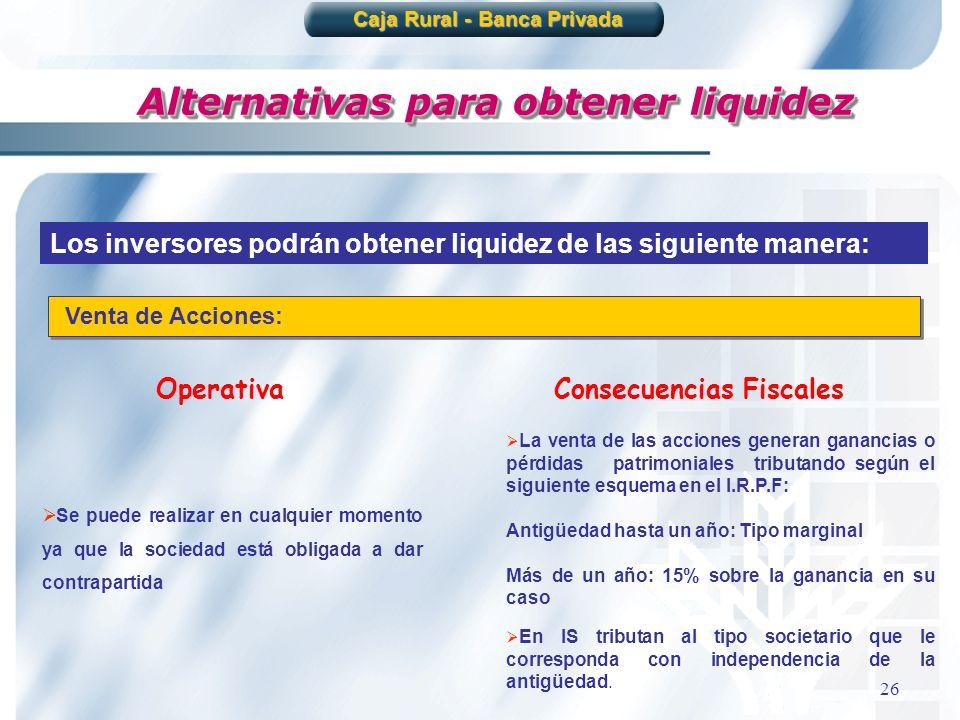 26 Alternativas para obtener liquidez Los inversores podrán obtener liquidez de las siguiente manera: Venta de Acciones: Se puede realizar en cualquie