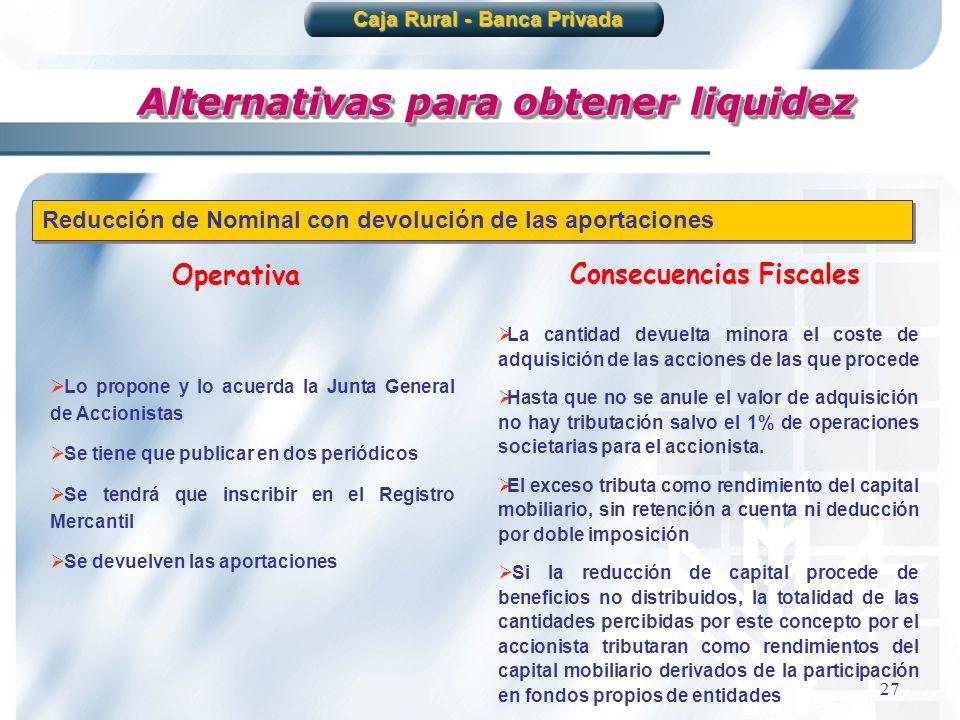 27 Alternativas para obtener liquidez Caja Rural - Banca Privada Reducción de Nominal con devolución de las aportaciones Operativa Consecuencias Fisca