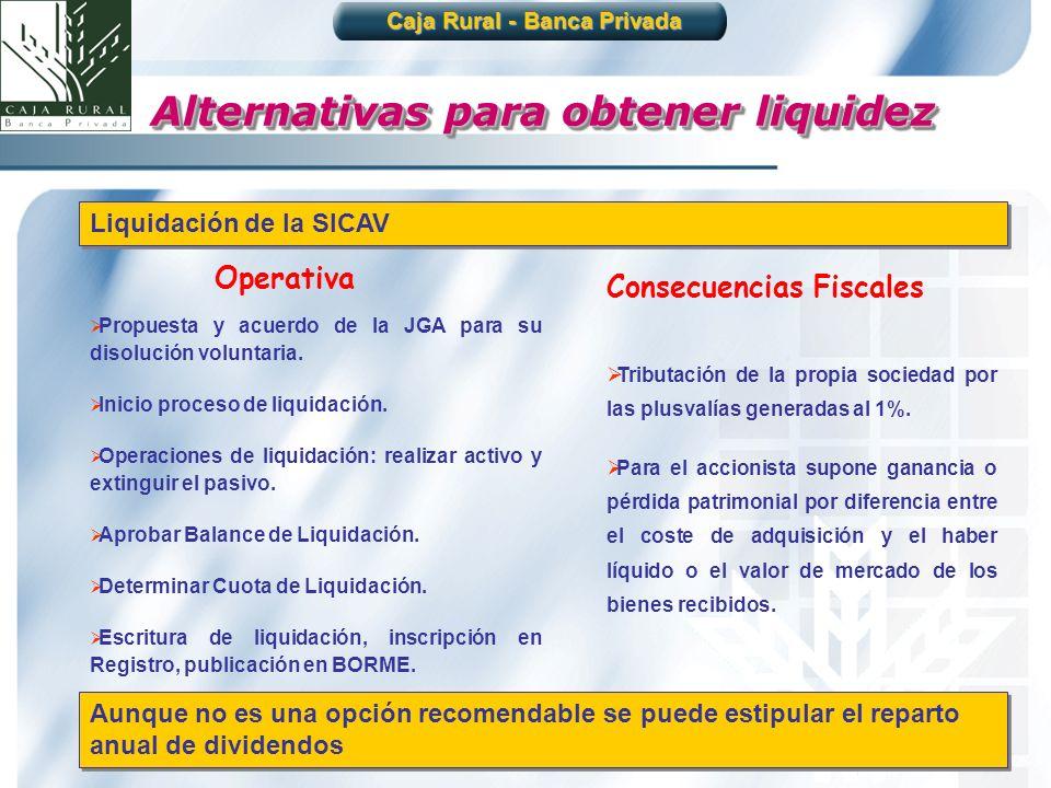 28 Aunque no es una opción recomendable se puede estipular el reparto anual de dividendos Liquidación de la SICAV Propuesta y acuerdo de la JGA para s