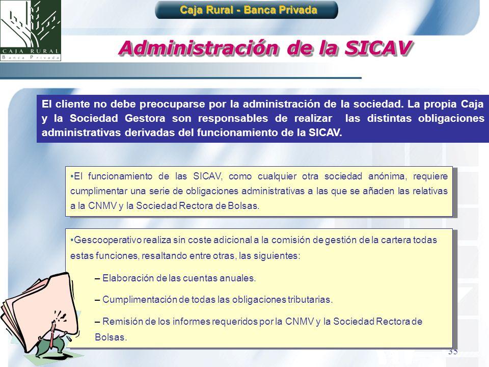 35 Administración de la SICAV El cliente no debe preocuparse por la administración de la sociedad. La propia Caja y la Sociedad Gestora son responsabl