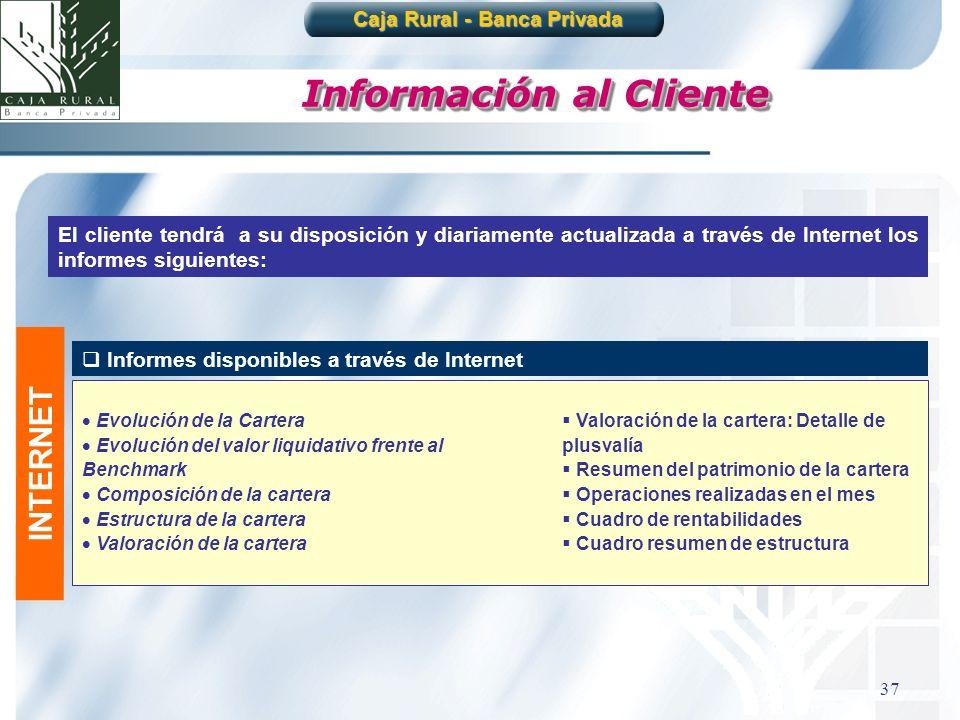 37 Información al Cliente El cliente tendrá a su disposición y diariamente actualizada a través de Internet los informes siguientes: Informes disponib