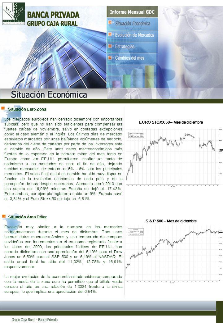 Situación Área Dólar Evolución muy similar a la europea en los mercados norteamericanos durante el mes de diciembre.