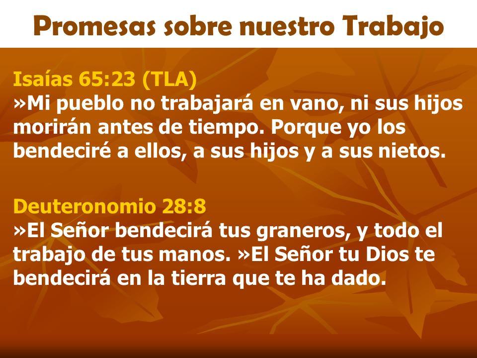 Promesas sobre nuestro Trabajo Isaías 65:23 (TLA) »Mi pueblo no trabajará en vano, ni sus hijos morirán antes de tiempo. Porque yo los bendeciré a ell