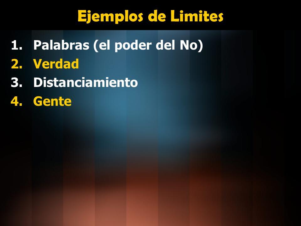 Ejemplos de Limites 1.Palabras (el poder del No) 2.Verdad 3.Distanciamiento 4.Gente