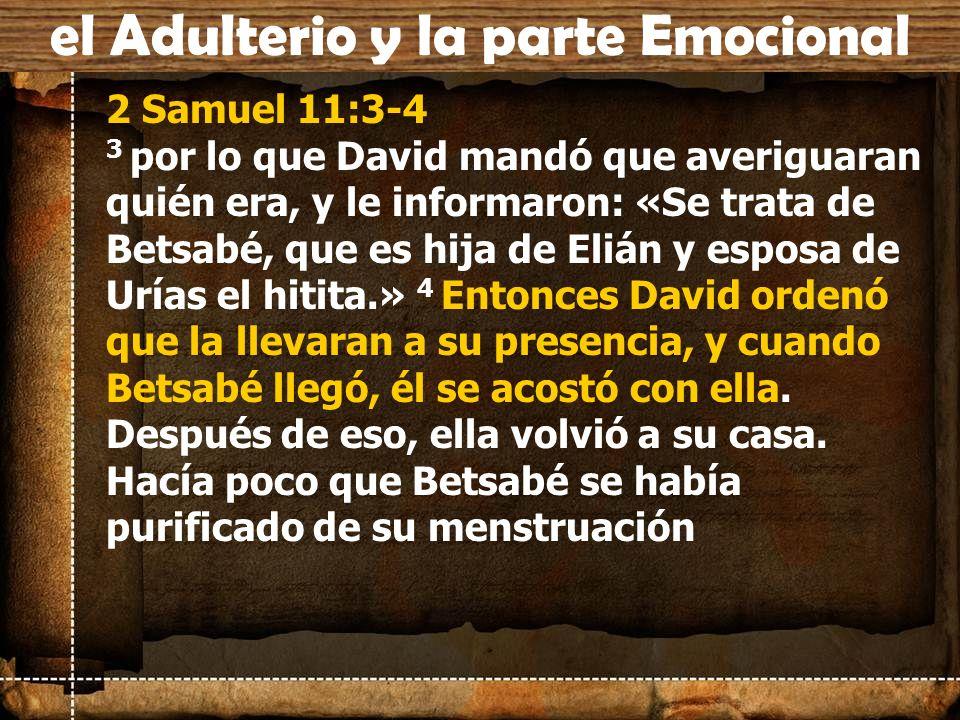 2 Samuel 11:3-4 3 por lo que David mandó que averiguaran quién era, y le informaron: «Se trata de Betsabé, que es hija de Elián y esposa de Urías el h
