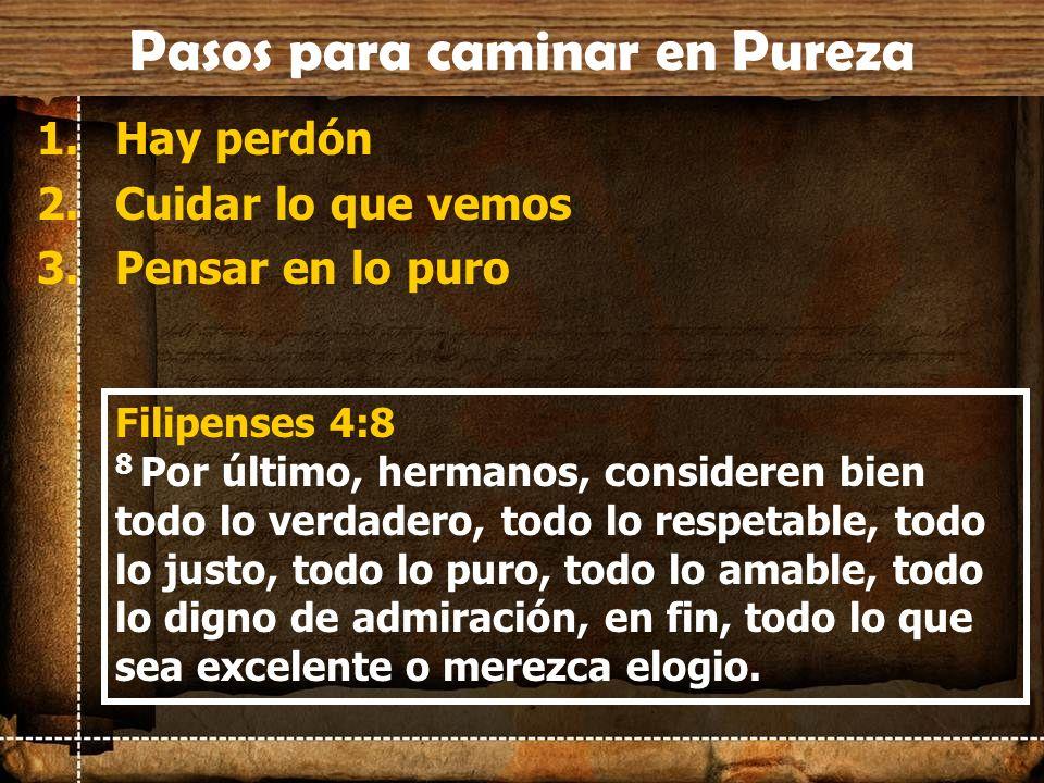 Pasos para caminar en Pureza 1.Hay perdón 2.Cuidar lo que vemos 3.Pensar en lo puro Filipenses 4:8 8 Por último, hermanos, consideren bien todo lo ver