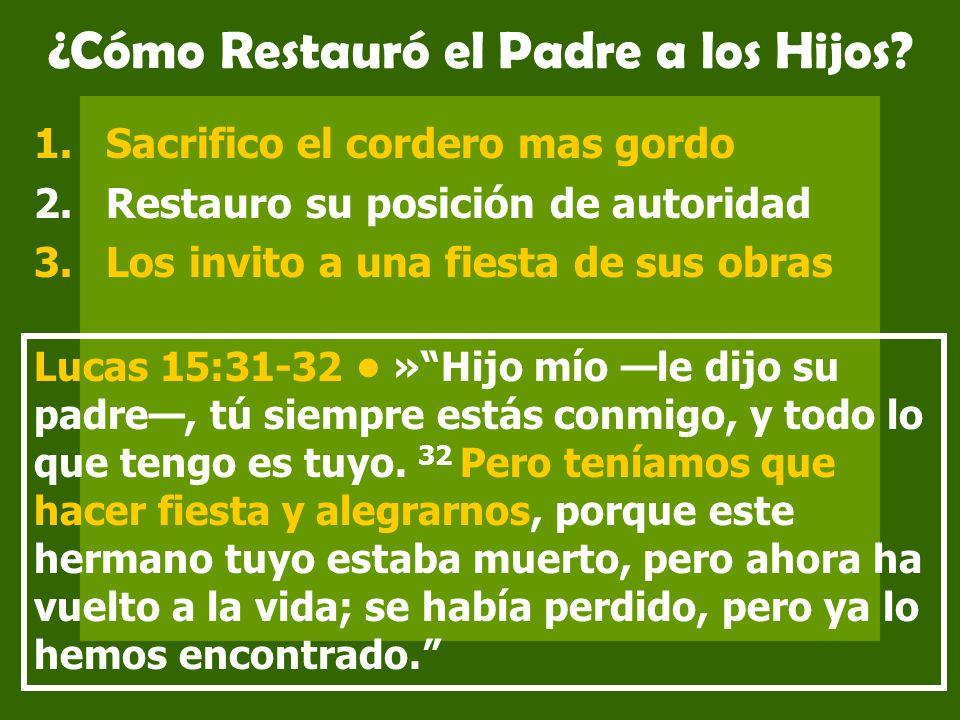 ¿Cómo Restauró el Padre a los Hijos? 1.Sacrifico el cordero mas gordo 2.Restauro su posición de autoridad 3.Los invito a una fiesta de sus obras Lucas