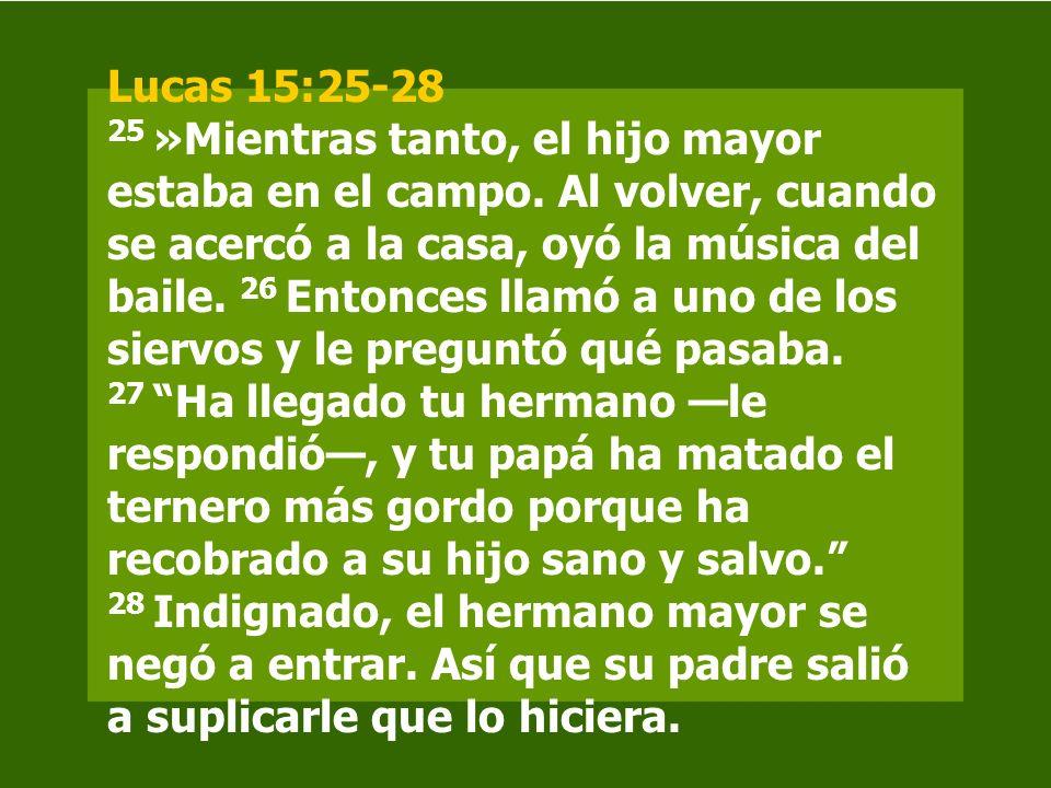 Lucas 15:25-28 25 »Mientras tanto, el hijo mayor estaba en el campo. Al volver, cuando se acercó a la casa, oyó la música del baile. 26 Entonces llamó