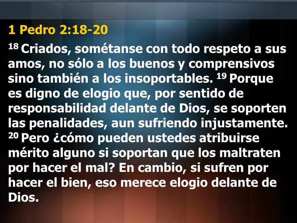 1 Pedro 2:18-20 18 Criados, sométanse con todo respeto a sus amos, no sólo a los buenos y comprensivos sino también a los insoportables. 19 Porque es