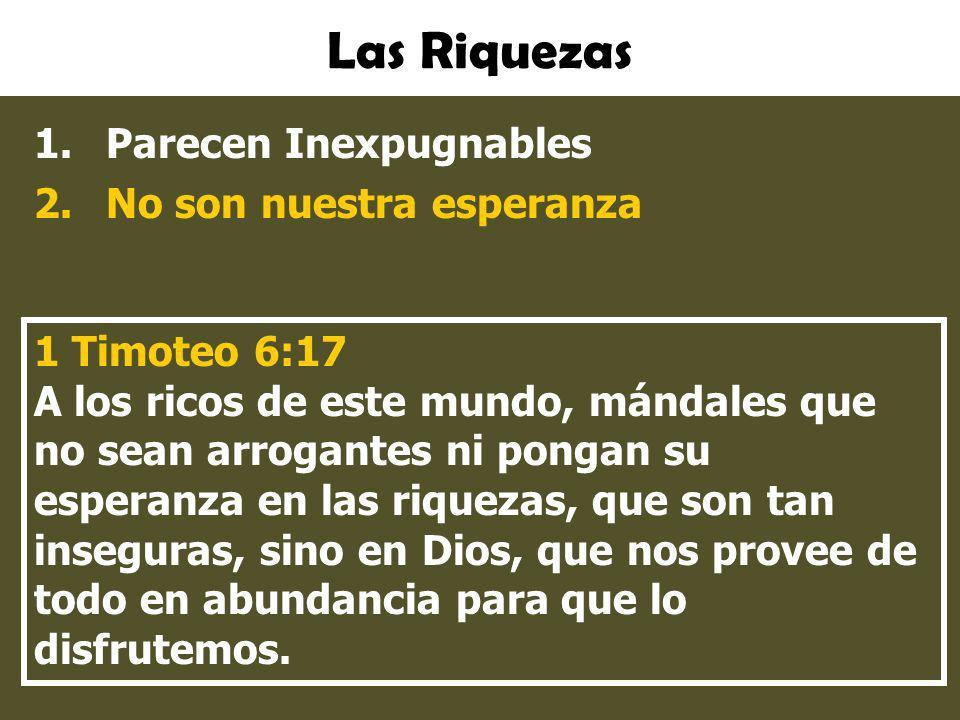 Las Riquezas 1.Parecen Inexpugnables 2.No son nuestra esperanza 1 Timoteo 6:17 A los ricos de este mundo, mándales que no sean arrogantes ni pongan su