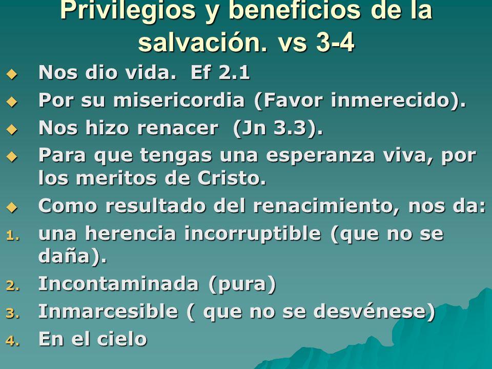 Privilegios y beneficios de la salvación. vs 3-4 Nos dio vida. Ef 2.1 Nos dio vida. Ef 2.1 Por su misericordia (Favor inmerecido). Por su misericordia