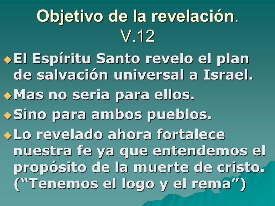 Objetivo de la revelación. V.12 El Espíritu Santo revelo el plan de salvación universal a Israel. El Espíritu Santo revelo el plan de salvación univer