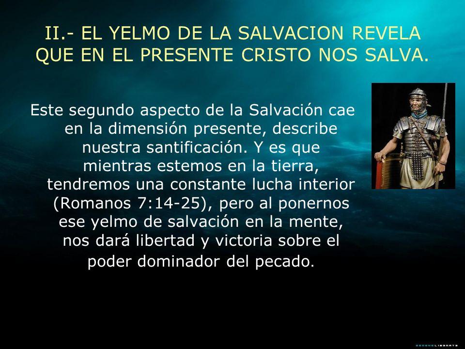 Este segundo aspecto de la Salvación cae en la dimensión presente, describe nuestra santificación. Y es que mientras estemos en la tierra, tendremos u