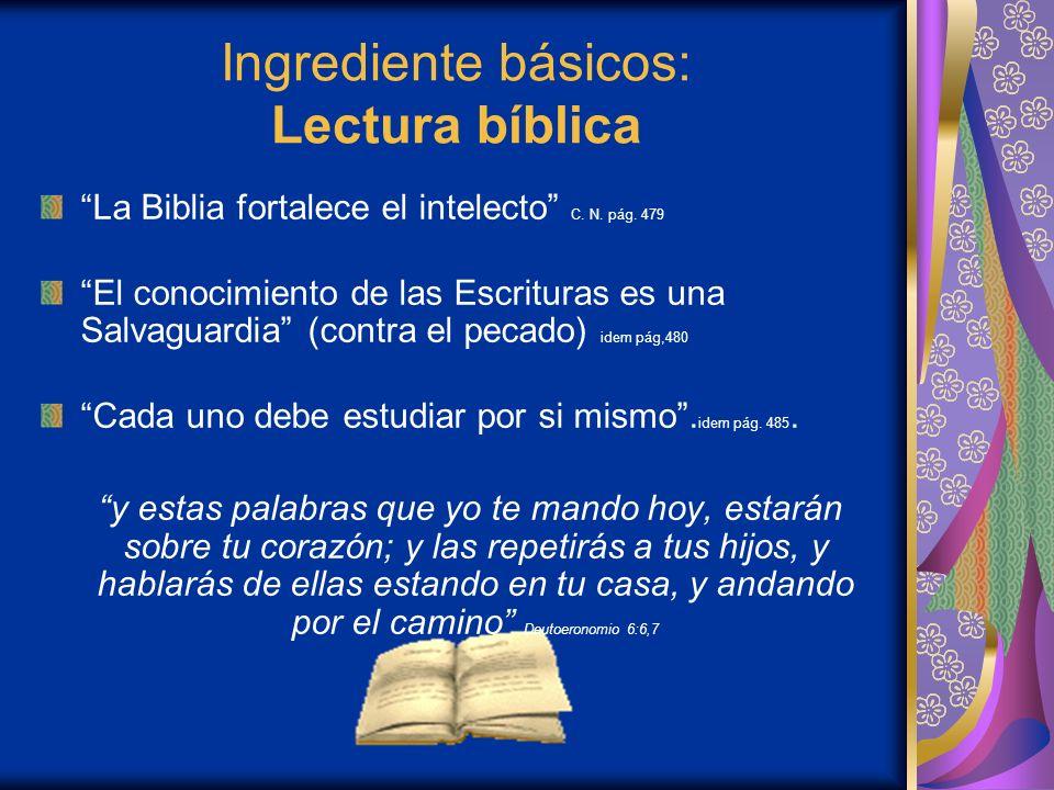 Ingrediente básicos: Lectura bíblica La Biblia fortalece el intelecto C.