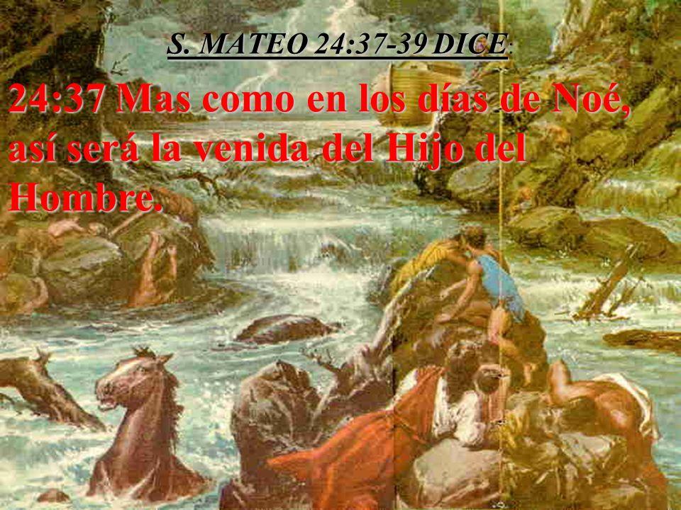 S. MATEO 24:37-39 DICE S. MATEO 24:37-39 DICE : 24:37 Mas como en los días de Noé, así será la venida del Hijo del Hombre. 24:37 Mas como en los días