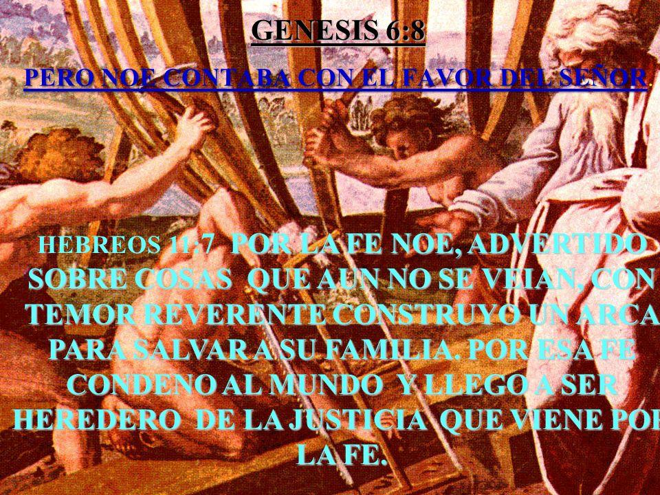 GENESIS 6:8 PERO NOE CONTABA CON EL FAVOR DEL SEÑOR GENESIS 6:8 PERO NOE CONTABA CON EL FAVOR DEL SEÑOR. HEBREOS 11: 7 POR LA FE NOE, ADVERTIDO SOBRE