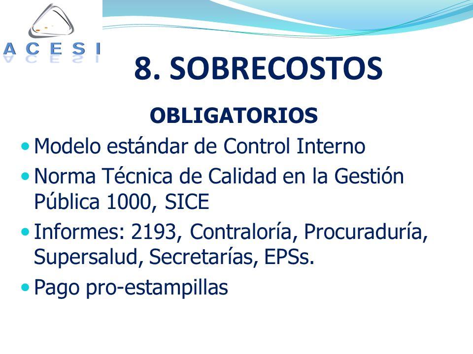 OBLIGATORIOS Modelo estándar de Control Interno Norma Técnica de Calidad en la Gestión Pública 1000, SICE Informes: 2193, Contraloría, Procuraduría, Supersalud, Secretarías, EPSs.