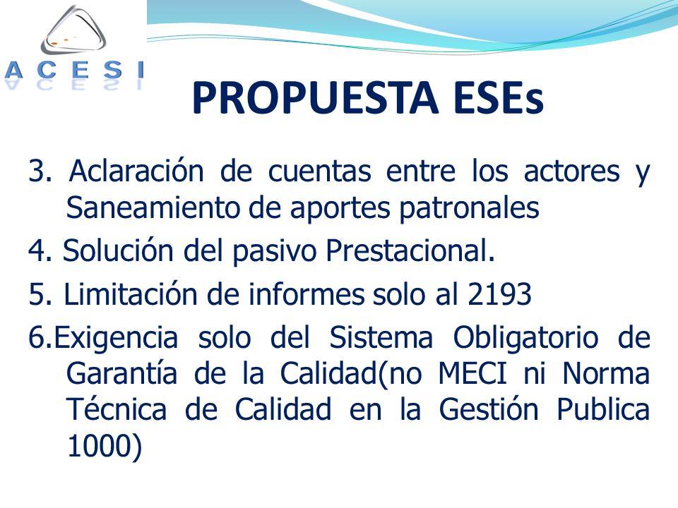 PROPUESTA ESEs 3. Aclaración de cuentas entre los actores y Saneamiento de aportes patronales 4.