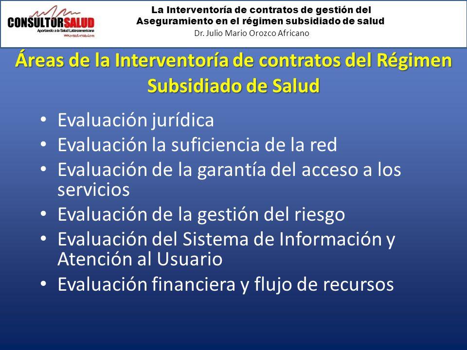 La Interventoría de contratos de gestión del Aseguramiento en el régimen subsidiado de salud Dr. Julio Mario Orozco Africano Áreas de la Interventoría