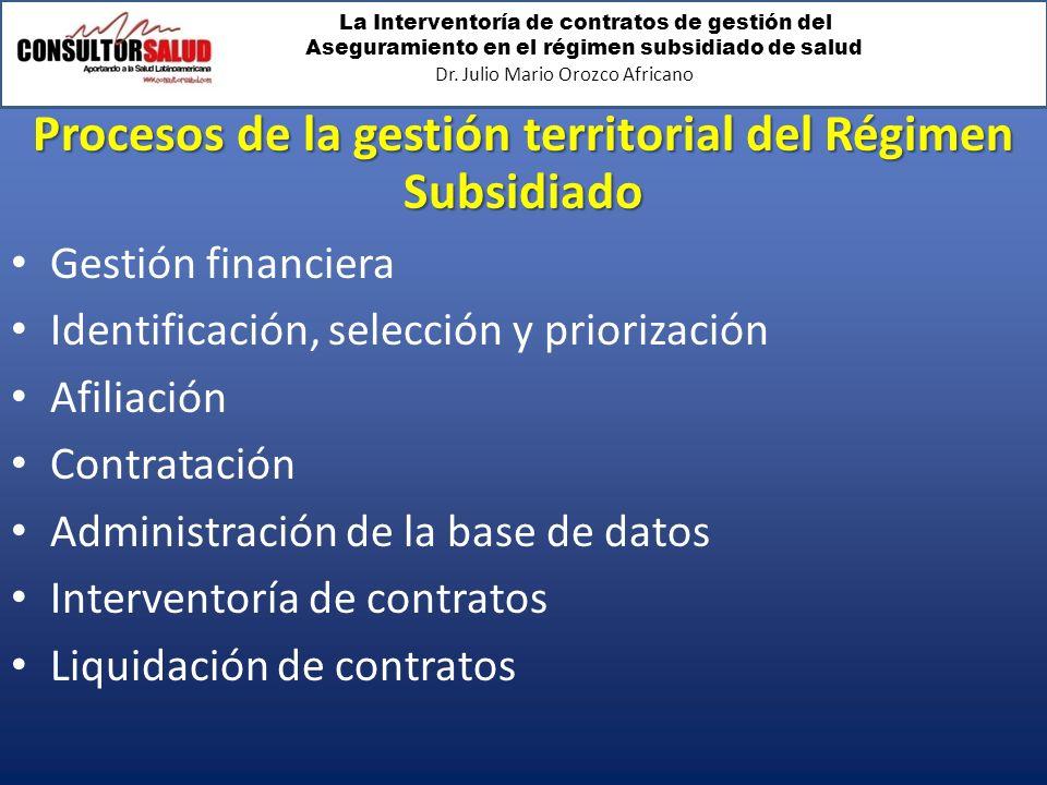 La Interventoría de contratos de gestión del Aseguramiento en el régimen subsidiado de salud Dr. Julio Mario Orozco Africano Procesos de la gestión te