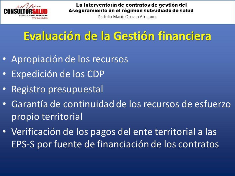 La Interventoría de contratos de gestión del Aseguramiento en el régimen subsidiado de salud Dr. Julio Mario Orozco Africano Evaluación de la Gestión