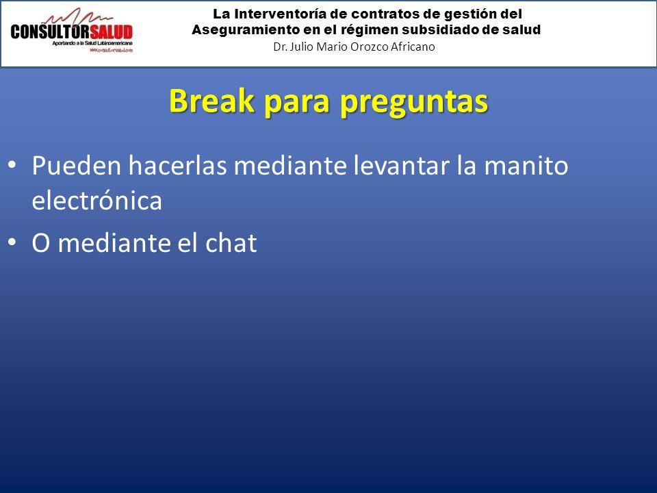 La Interventoría de contratos de gestión del Aseguramiento en el régimen subsidiado de salud Dr. Julio Mario Orozco Africano Break para preguntas Pued